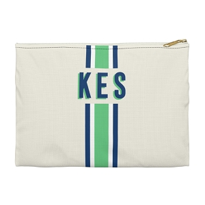 Monogrammed Clutch - Stripe Green/Navy (Large)