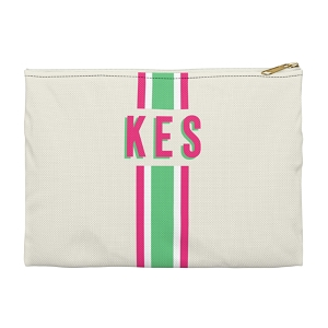 Monogrammed Clutch - Stripe Green/Pink (Large)