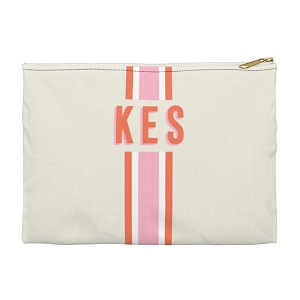Monogrammed Clutch - Stripe Orange/Pink (Small)