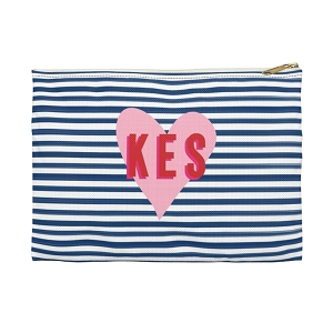 Monogrammed Clutch - Stripes & Heart (Small)