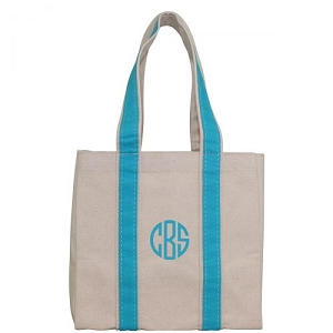 Monogrammed Four Bottle Wine Tote - Turquoise
