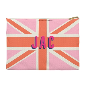 Monogrammed Clutch - Union Jack Pink (Large)