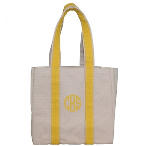 Monogrammed Four Bottle Wine Tote - Yellow