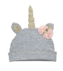 Monogrammed Unicorn Baby Hat - Gray