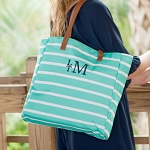 Monogrammed Stripe Tote - Mint
