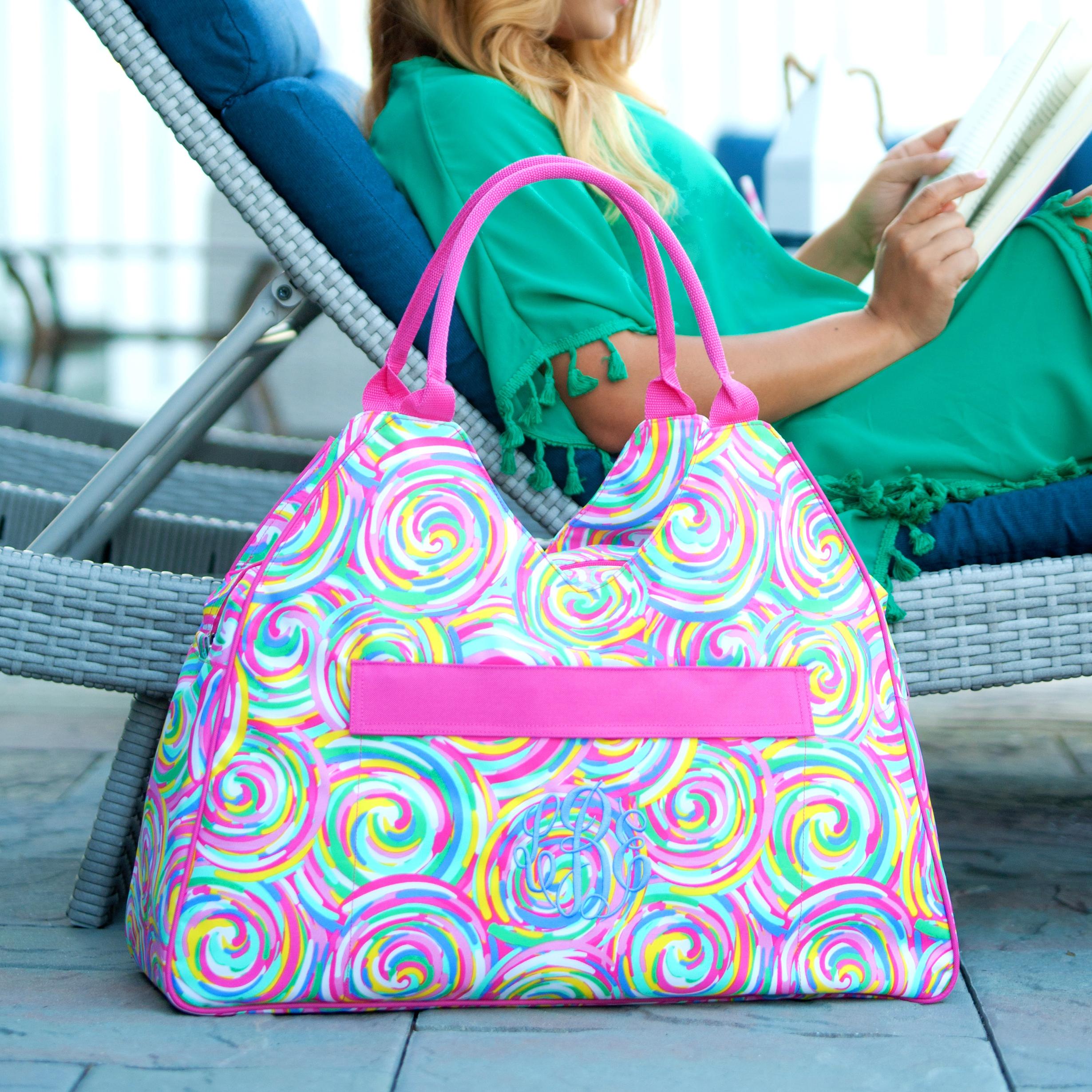Monogrammed Beach Bag Summer Sorbet