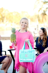 Monogrammed Cooler Bag - Poolside Palm