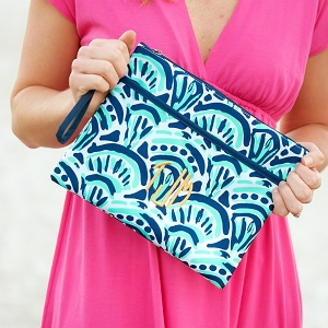 Monogrammed Zipper Pouch - Make Waves