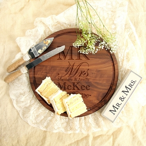 Walnut Wedding Gift - Mr. & Mrs.