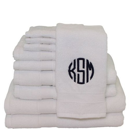 Luxury Cotton Monogrammed 10 Piece Towel Set - White