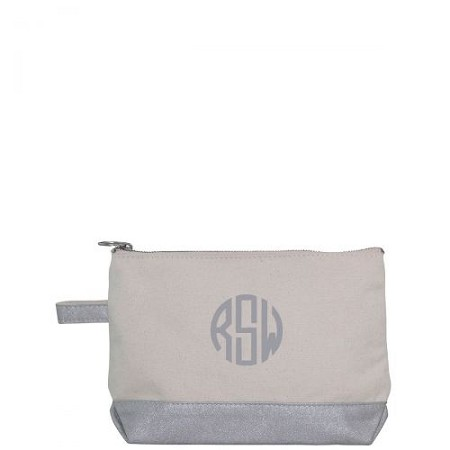 Canvas Cosmetic Bag - Metallic Silver