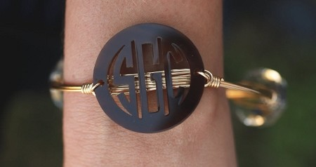Solid Color Bangle Monogram Bracelet