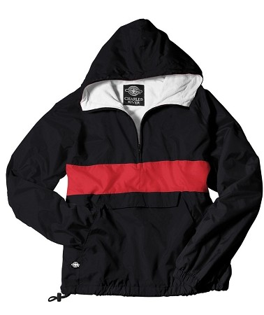 Monogrammed Anorak, Striped Black and Red