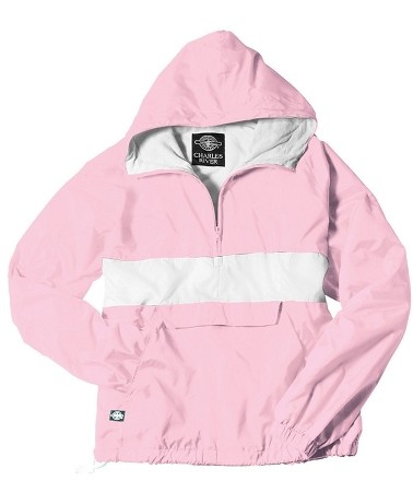 Monogrammed Anorak, Striped Pink and White