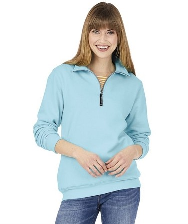 Monogrammed Crosswinds Pullover Sweatshirt in Aqua