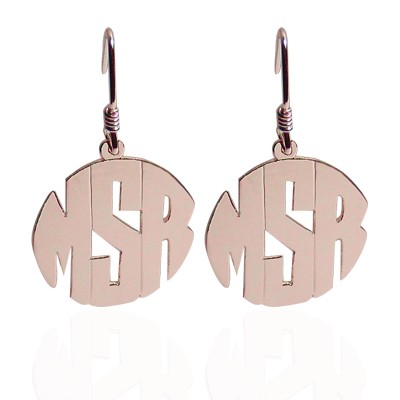 Monogrammed Earrings on French Wire - Block