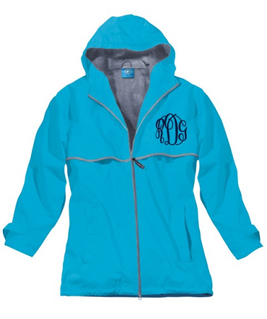 Monogrammed New Englander Rain Jacket by Charles River Apparel, Wave