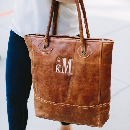 Monogrammed Leather Rustic Tote