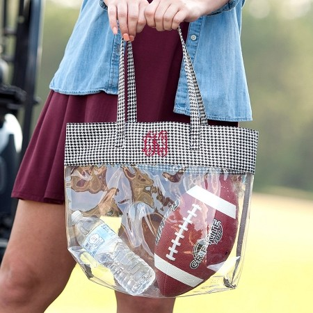 Monogrammed Clear Stadium Tote - Houndstooth