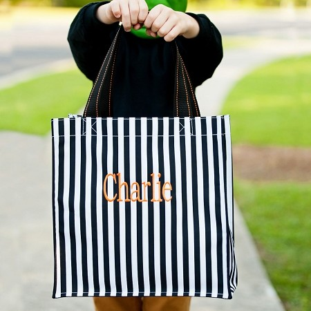 Monogrammed Halloween Tote, Black and White Stripe