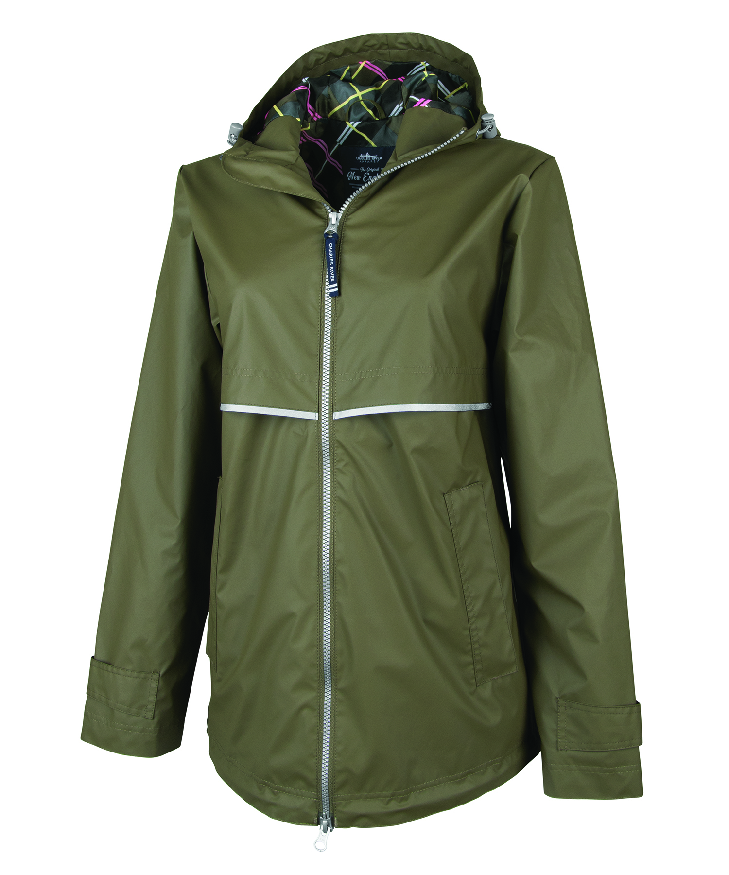 Monogrammed Rain Jacket with Print Lining, Olive