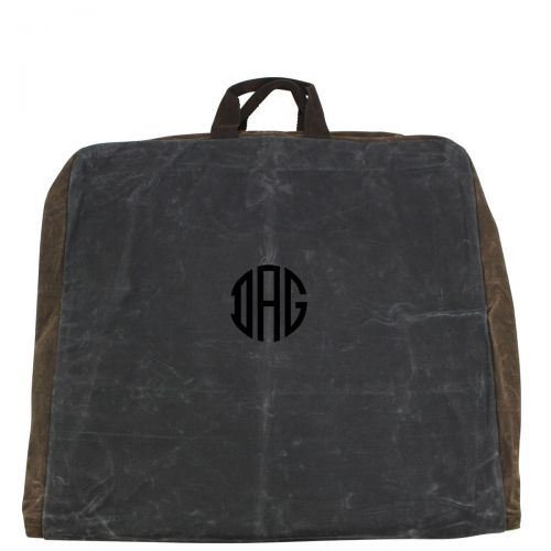 Monogrammed Waxed Canvas Garment Bag - Slate/Olive