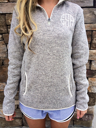 Monogrammed Heathered Pullover - 3 Colors Available