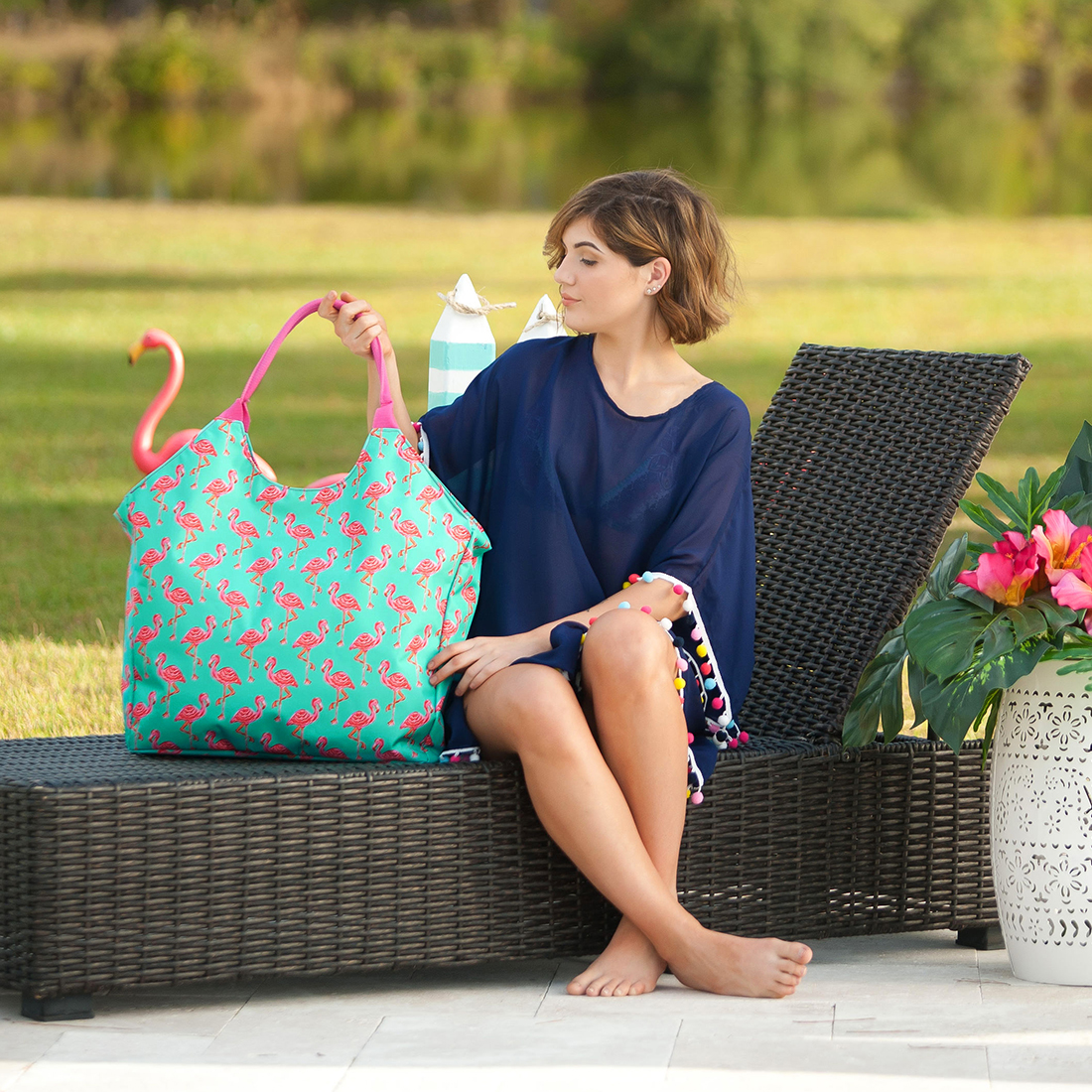 Monogrammed Beach Bag - Tickled Pink
