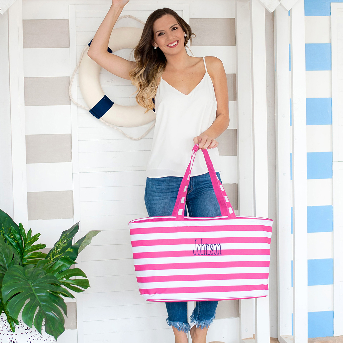 Monogrammed Striped Ultimate Tote - 4 Colors Available