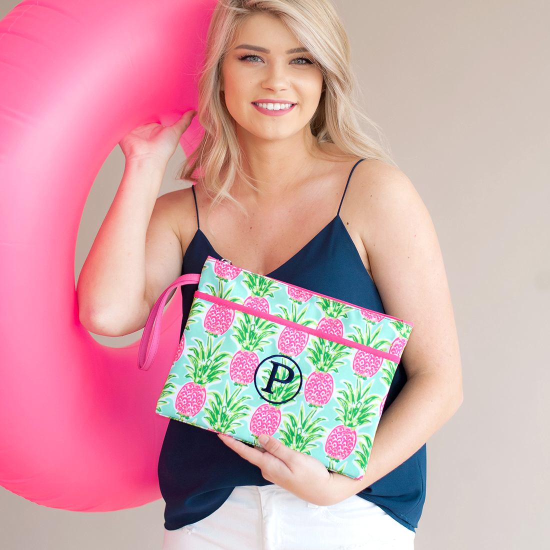 Monogrammed Zip Pouch Wristlet - Sweet Paradise