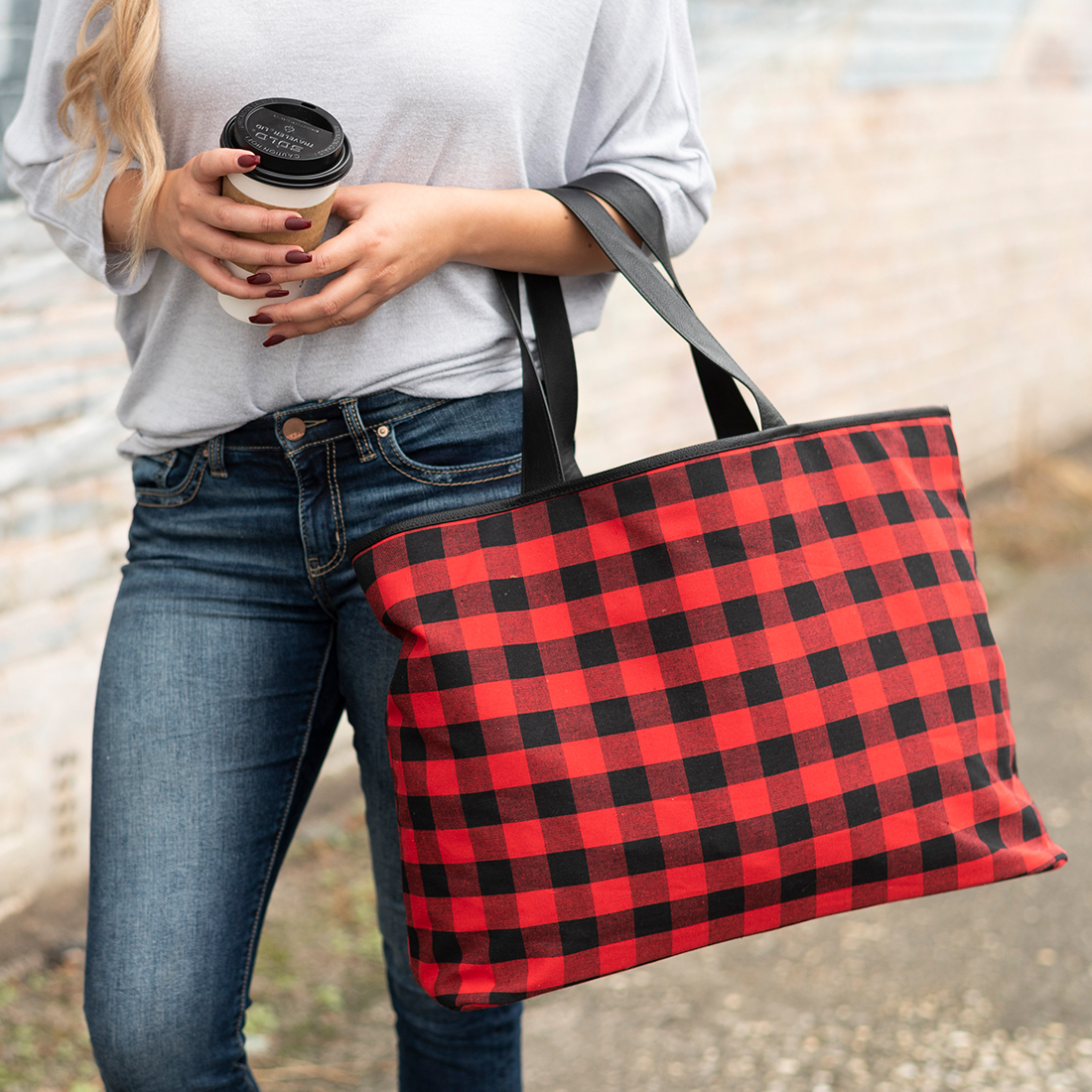 Ally Tote - Red Buffalo Check