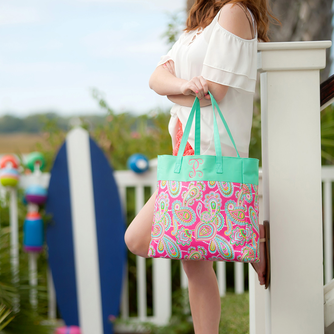 Monogrammed Patterned Tote - Lizzie