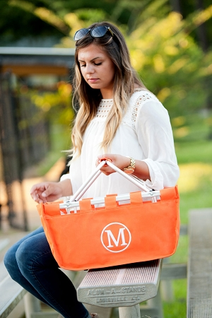 Monogrammed Market Tote, Orange