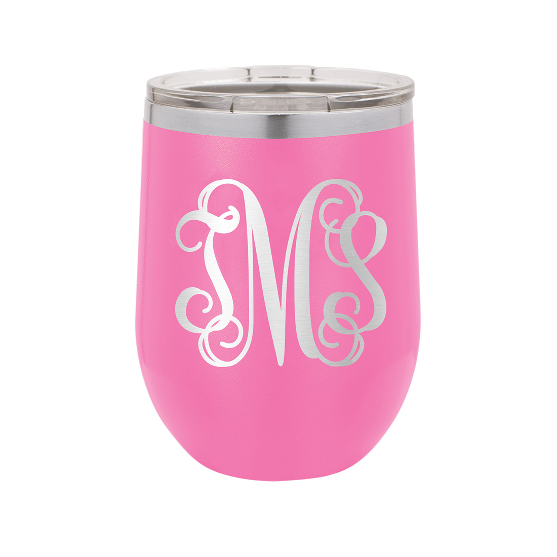 12oz Wine Tumbler with Vine Monogram - 3 Colors Available