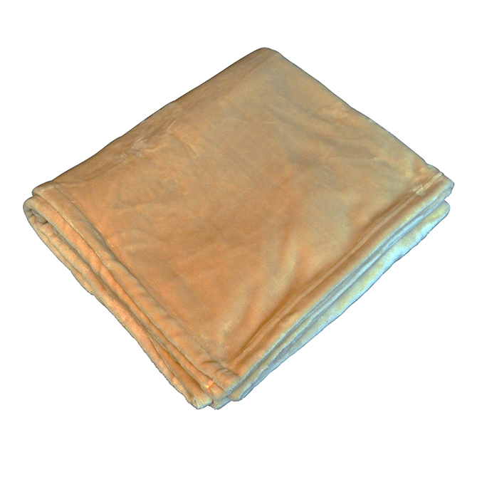 Monogrammed Fleece Flannel Blanket - Camel