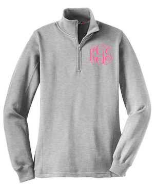 Monogrammed Quarter Zip Sweatshirt - 7 Colors Available