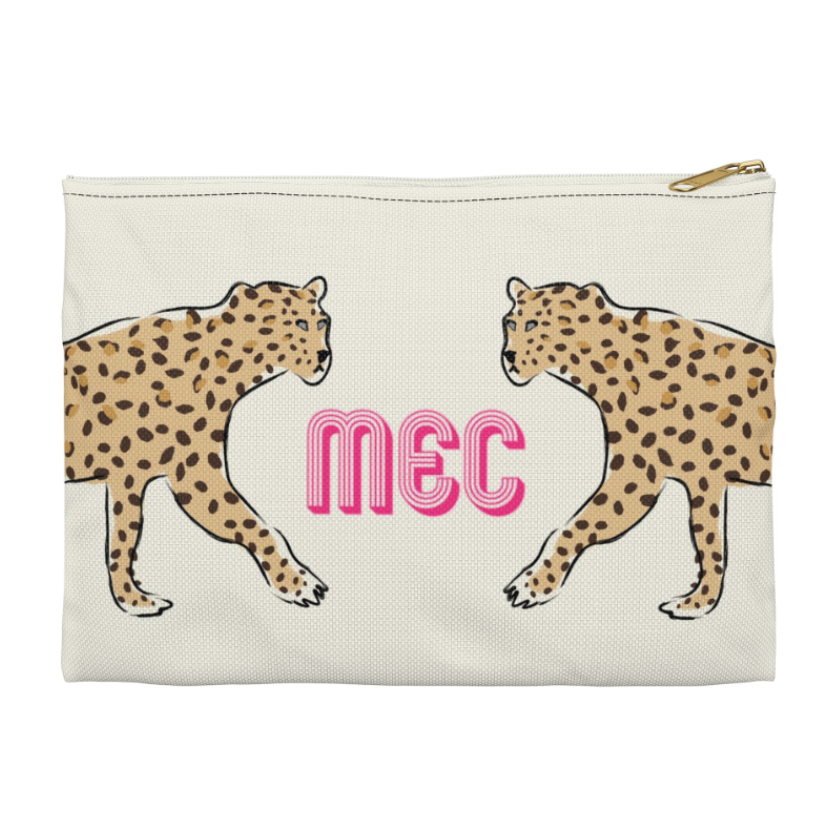 Monogrammed Leopard Duo Clutch - 2 sizes Available