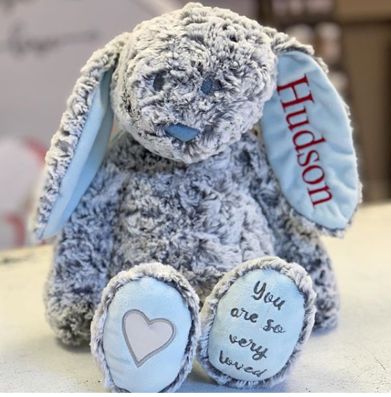 Monogrammed Bunny - Blue
