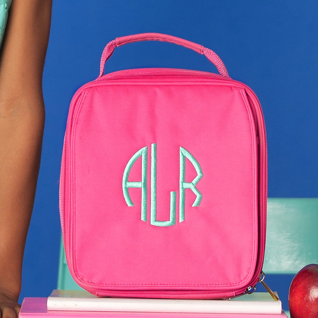 Monogrammed Lunch Box - Hot Pink