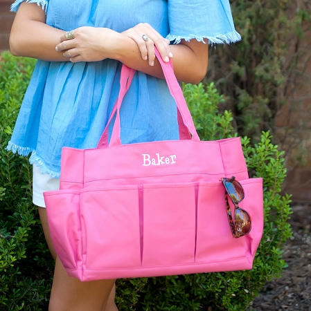 Monogrammed Carry All Bag - Hot Pink