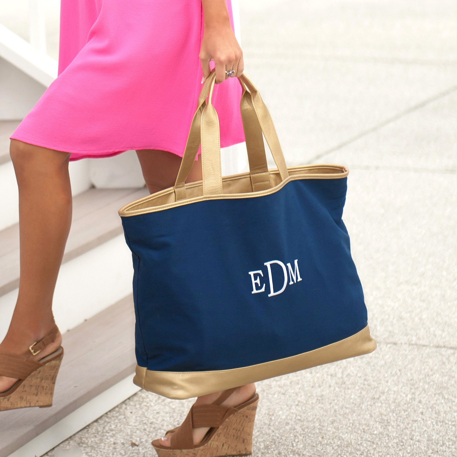 Monogrammed Cabana Tote - 6 Colors Available
