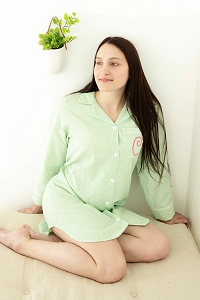 Monogrammed Seersucker Long Sleeve Nightshirt - Green