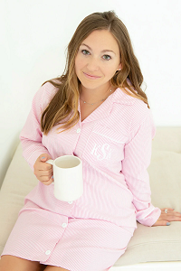 Monogrammed Seersucker Long Sleeve Nightshirt - 4 Colors Available