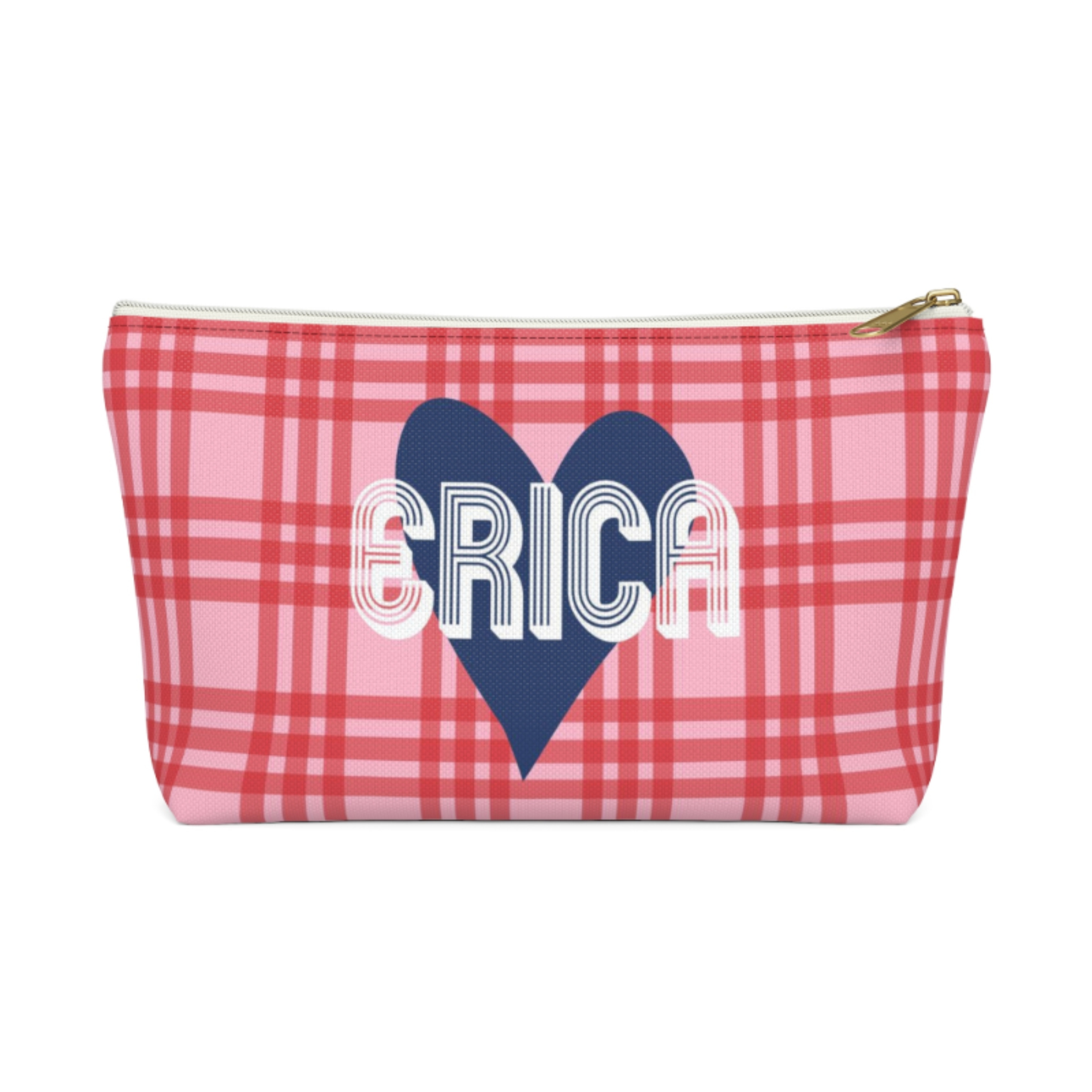 Plaid & Heart Zip Pouch (More options available)