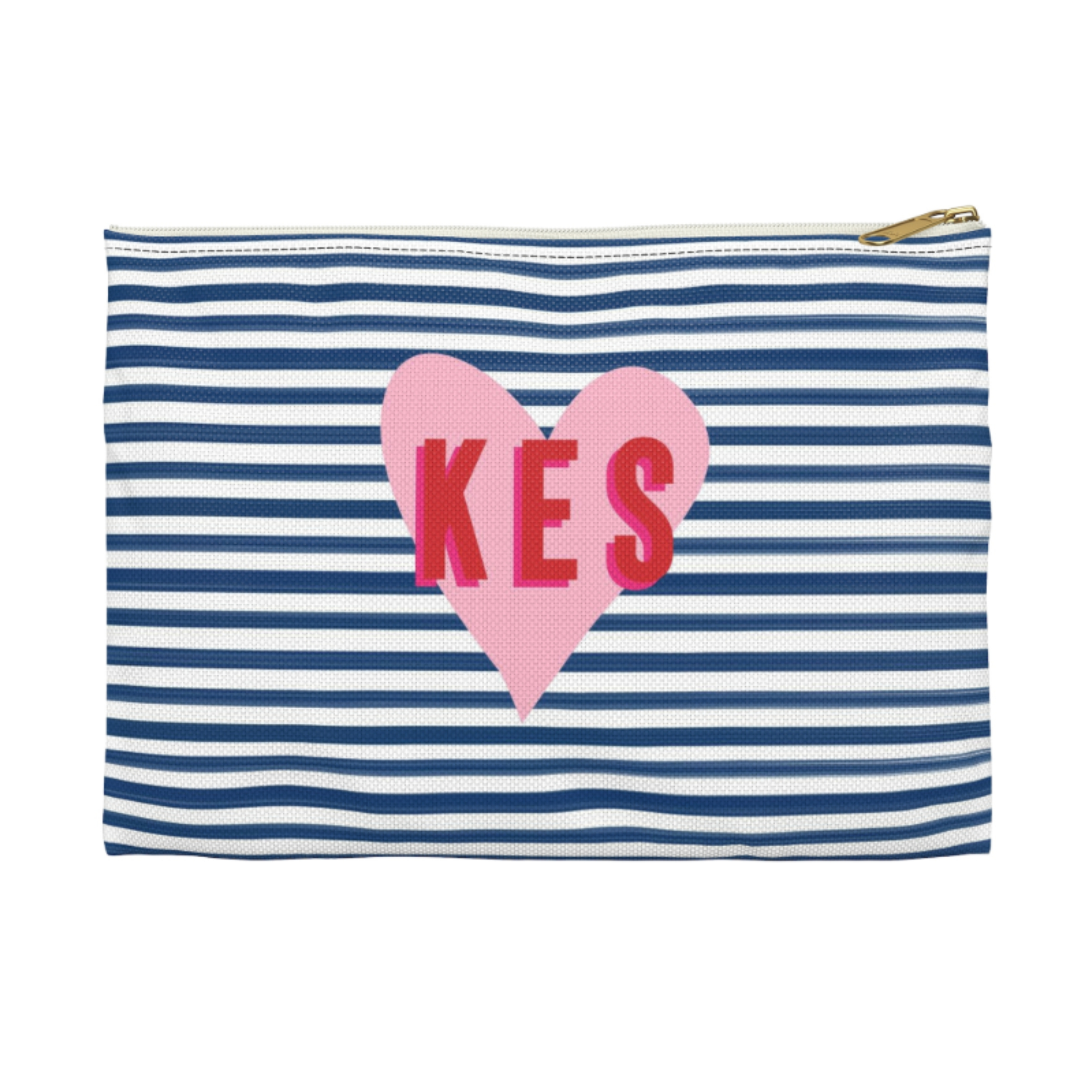 Monogrammed Stripes & Heart Clutch - 2 Sizes Available