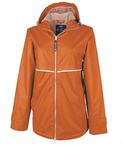 Monogrammed Rain Jacket with Print Lining, Orange