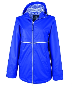 Monogrammed Rain Jacket with Print Lining, Royal Blue