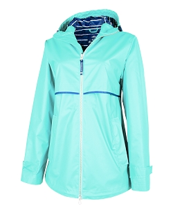 Monogrammed Rain Jacket with Print Lining, Light Blue