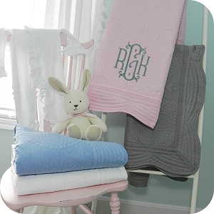 Monogrammed Cotton Quilted Baby Blanket (Available in 4 Colors)