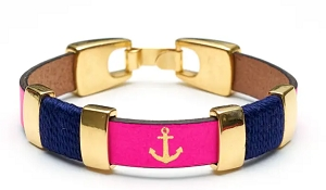 Chatham Bracelet (Neon Pink/Navy/Gold)